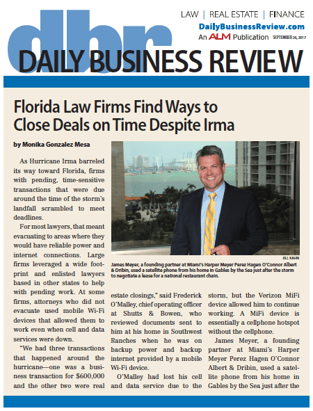 Florida Law Firms Find Ways to Close Deals on Time Despite Irma