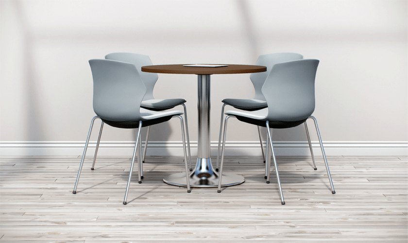 Avant is a range of tables offering different heights and table top sizes on a round chrome table base. The top can be specified in maple, walnut or white to complement any environment