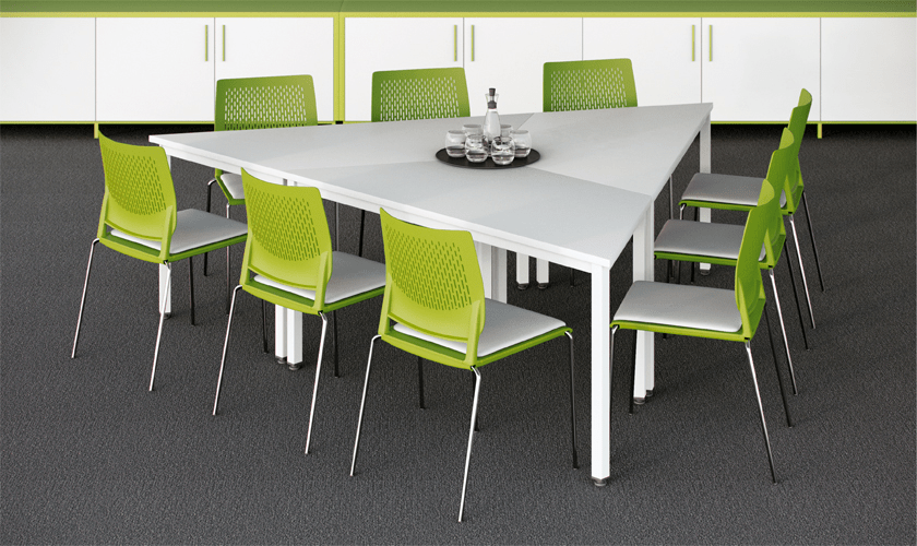 Beautifully designed with a strong, confident style, Metro is a contemporary meeting and conference table range. Featuring a selection of table top finishes with a square edge detail, the metal work comes in painted silver, black, white or chrome