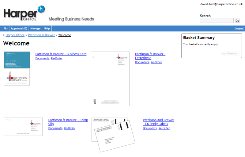 link to Harper Office print portal for easy ordering of business cards, letterheads and more