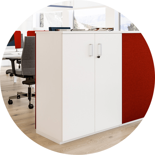 Image of white cabinet in office storage range