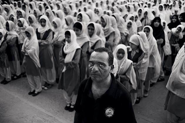 Habib Hasan at a girls' school run by the Lyari Resource Centre