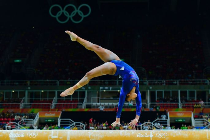 Day two: Ellie Downie competes in the qualifying round for the Women's Balance-Beam Event of the Artistic Gymnastics, making it through despite a dramatic fall.