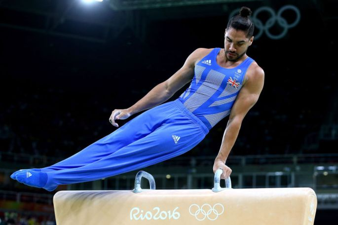 Day three: Louis Smith competes on the pommel horse during the Men's Artistic Gymnastics Qualifying Rounds.