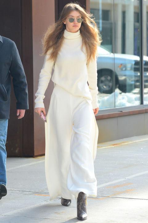 Gigi Hadid, one-tone dressing, Gigi Hadid one-tone outfit,
