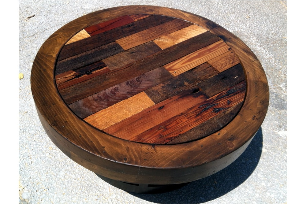distressed round coffee table harpeth