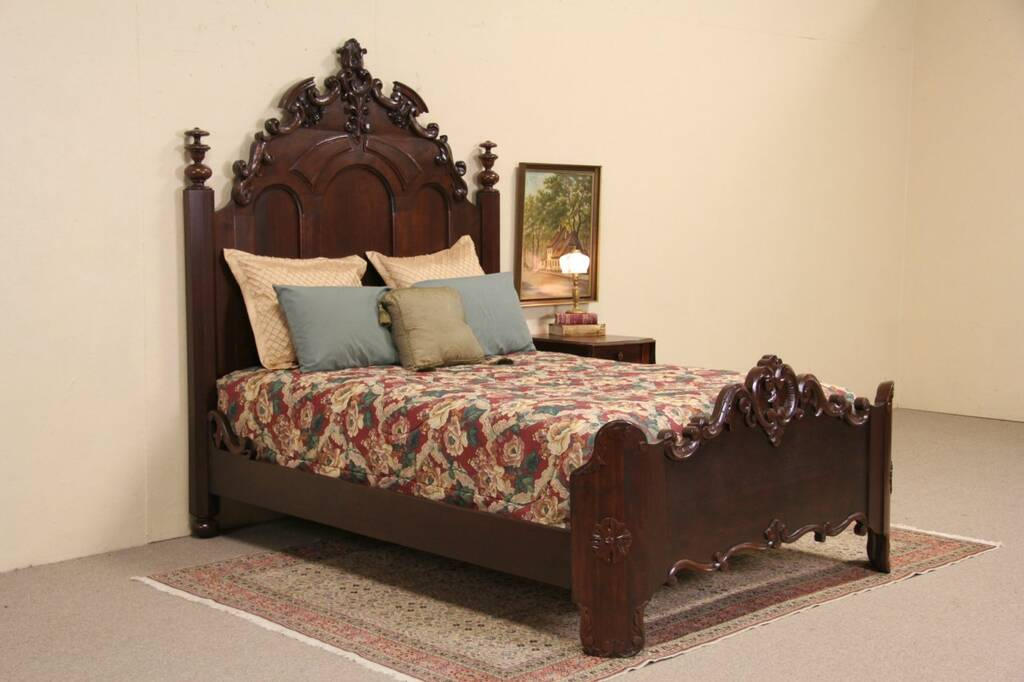 Victorian Carved Walnut Antique 1860's Queen Size Bed