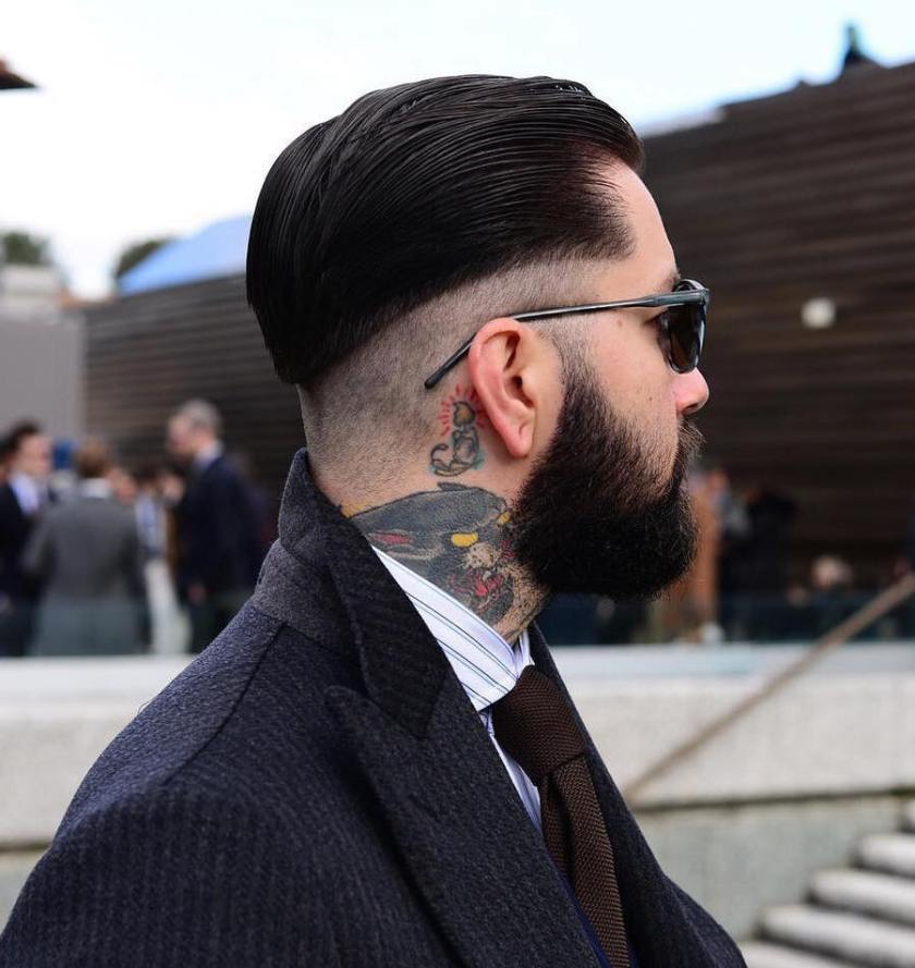 Low Skin Fade + Slicked Back Hairstyle 20