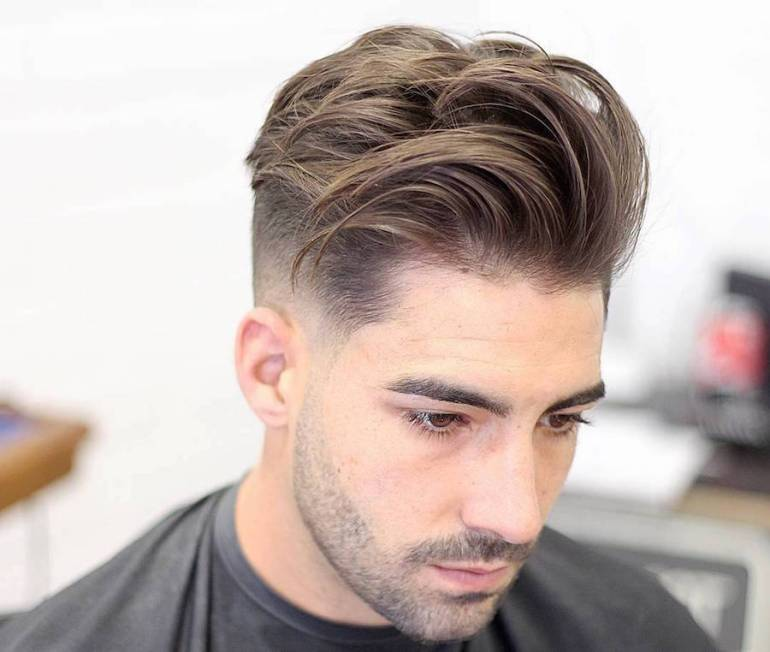 Medium Length Hairstyles For Men: Mid Fade + Longer Textuerd Hair On Top  -harpmagazine-com