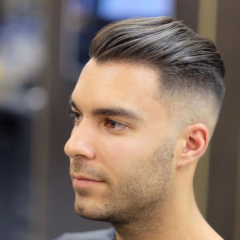 Medium Length Hairstyles For Men: Slicked Back Hair + High Fade - harpmagazine-com