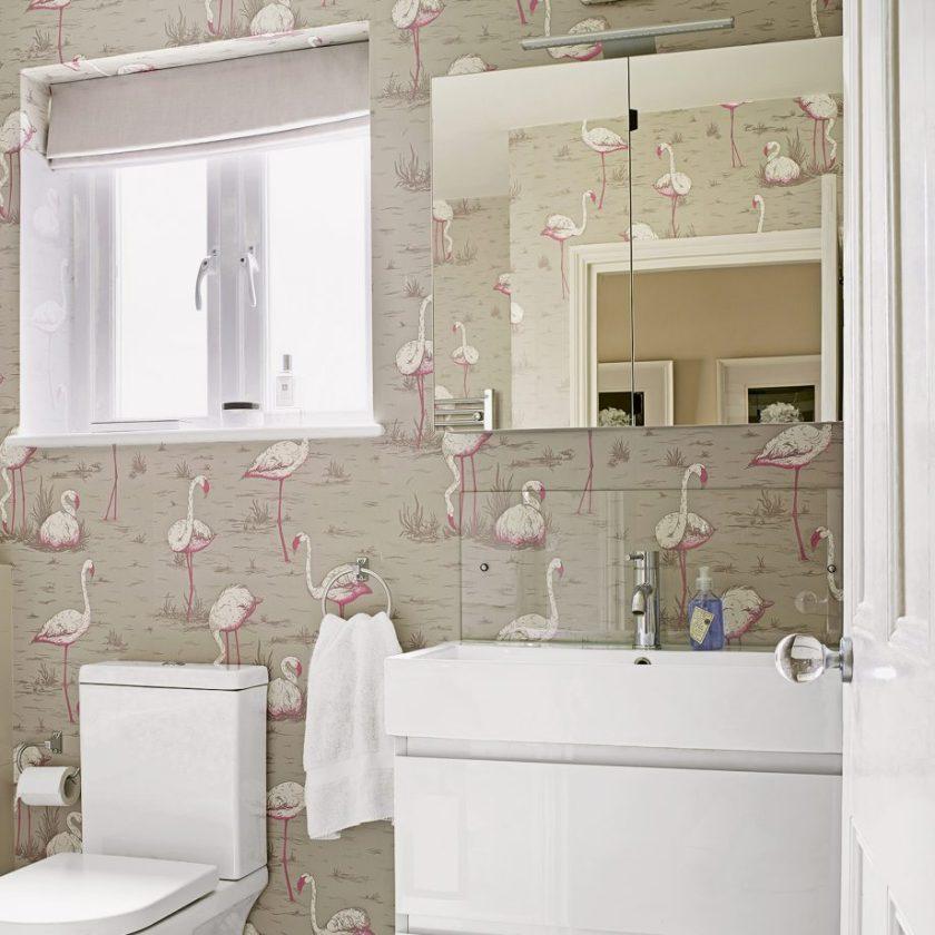 Wallpaper A Cloak Room in Small Bathroom Decor Ideas