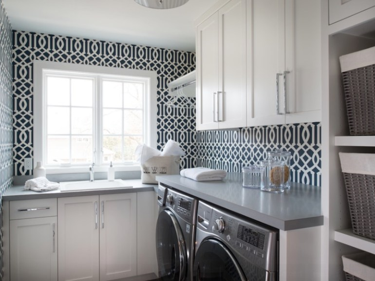 Add Visual Interest to the Walls With Pattern For Small Laundry Room Ideas