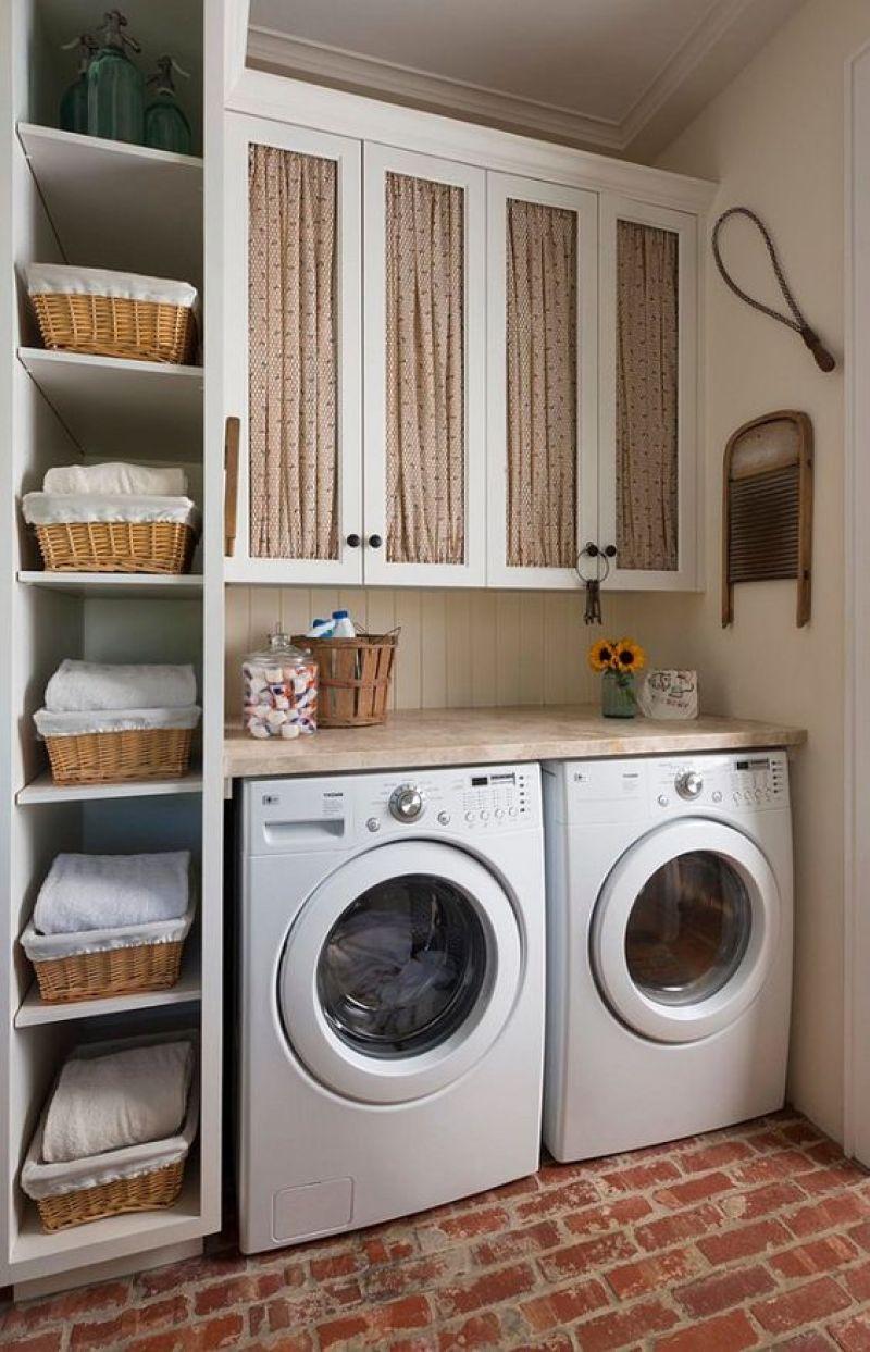 Vertical Open Shelves for Small Laundry Room Design