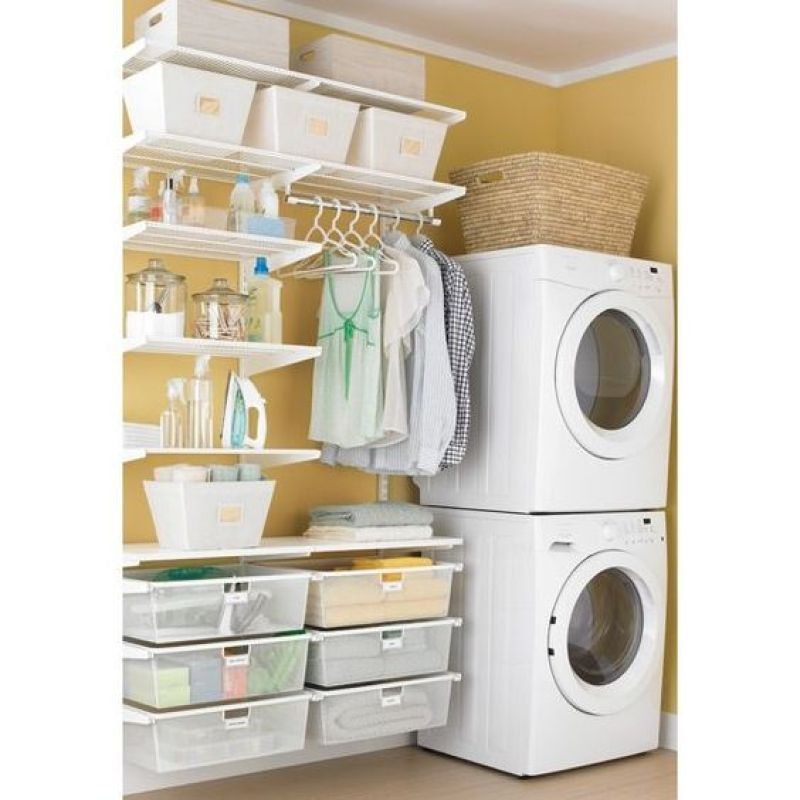 30 best small laundry room ideas and photos on a budget for Open shelving laundry room