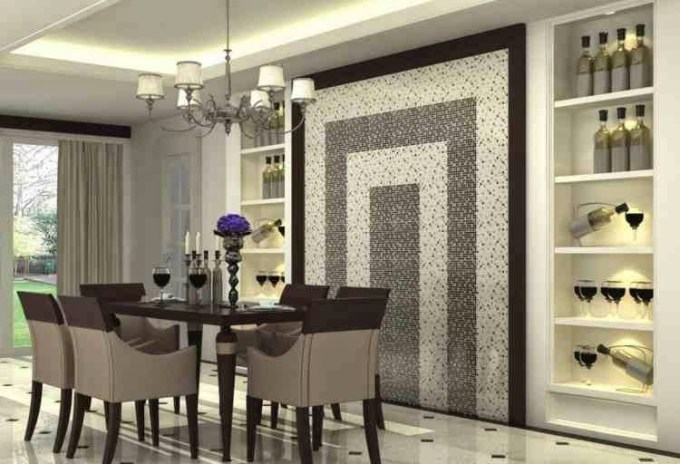 Modern Dining Room Wall Decor, Glossy Mosaic Wall And Decorative Shelves - harpmagazine.com