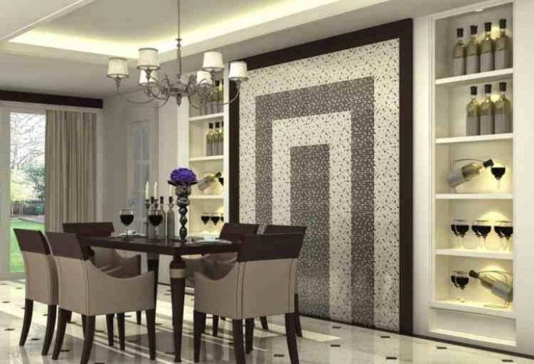 Modern Dining Room Wall Decor Glossy Mosaic And Decorative Shelves