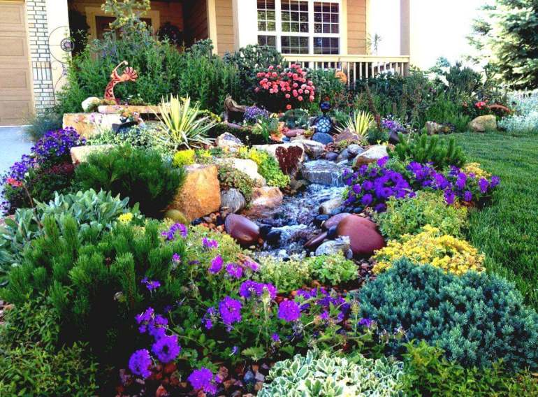 Front Yard Landscaping Ideas - Water-Wise Western Water Feature - harpmagazine-com
