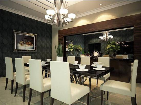 Luxurious Dining Room Wall Decor With Mirror