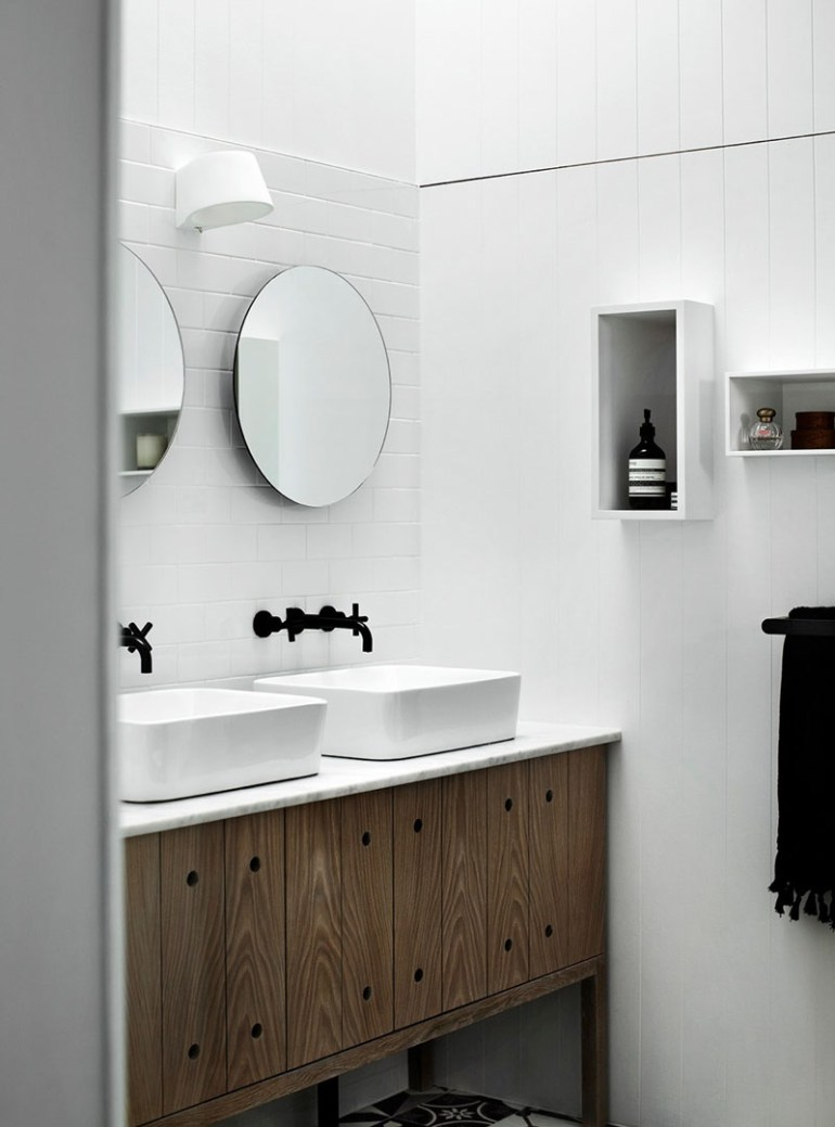 Bathroom Mirror Ideas - Two Round Mirrors 1 - harpmagazine.com