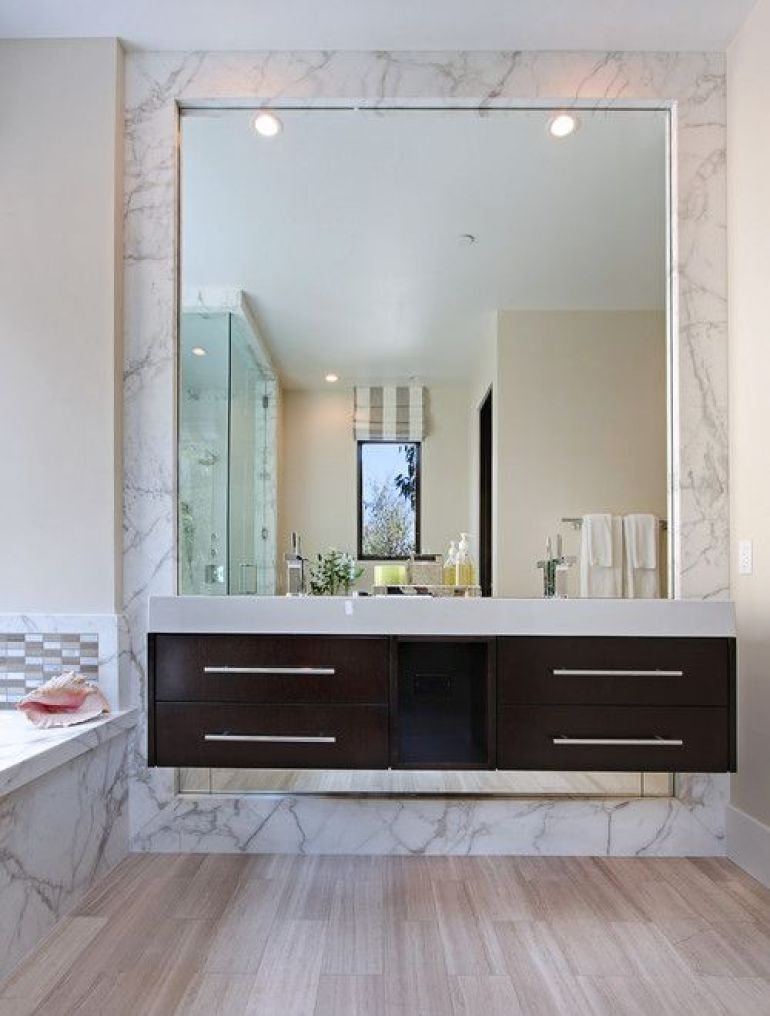 20 best bathroom mirror ideas on wall for single double sink contemporary bathroom mirror ideas set in marble publicscrutiny Image collections