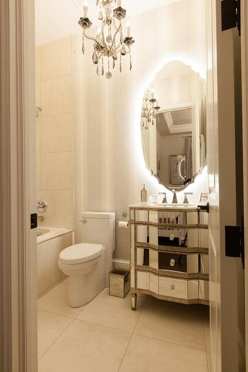 French Style Bathroom Mirror Ideas With Backlit Ornate