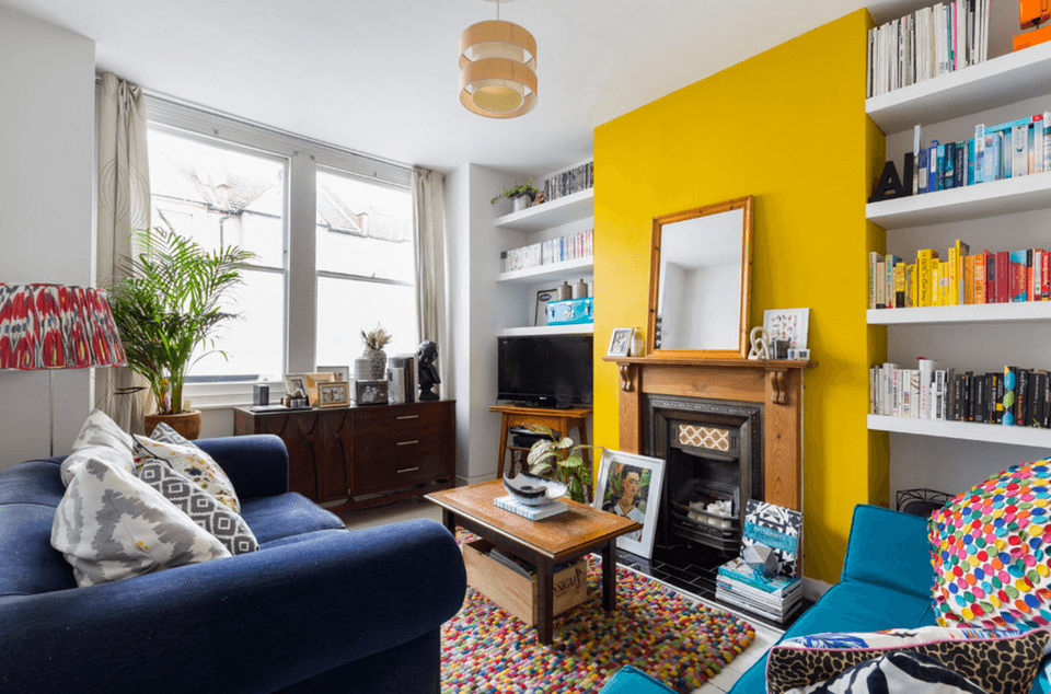 Bright Yellow Living Room Accent Wall Ideas