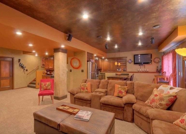 Basement Ceiling Ideas - Contrasting Paint Colors - harpmagazine.com