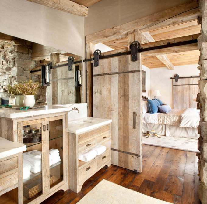 Farmhouse Bathroom Decor Ideas - Sliding Barn Door for Master Bathroom - harpmagazine.com
