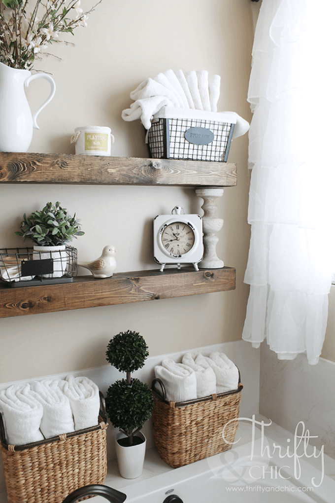 Farmhouse Bathroom Decor Ideas - Wood and Wicker Bathroom Organizing System - harpmagazine.com