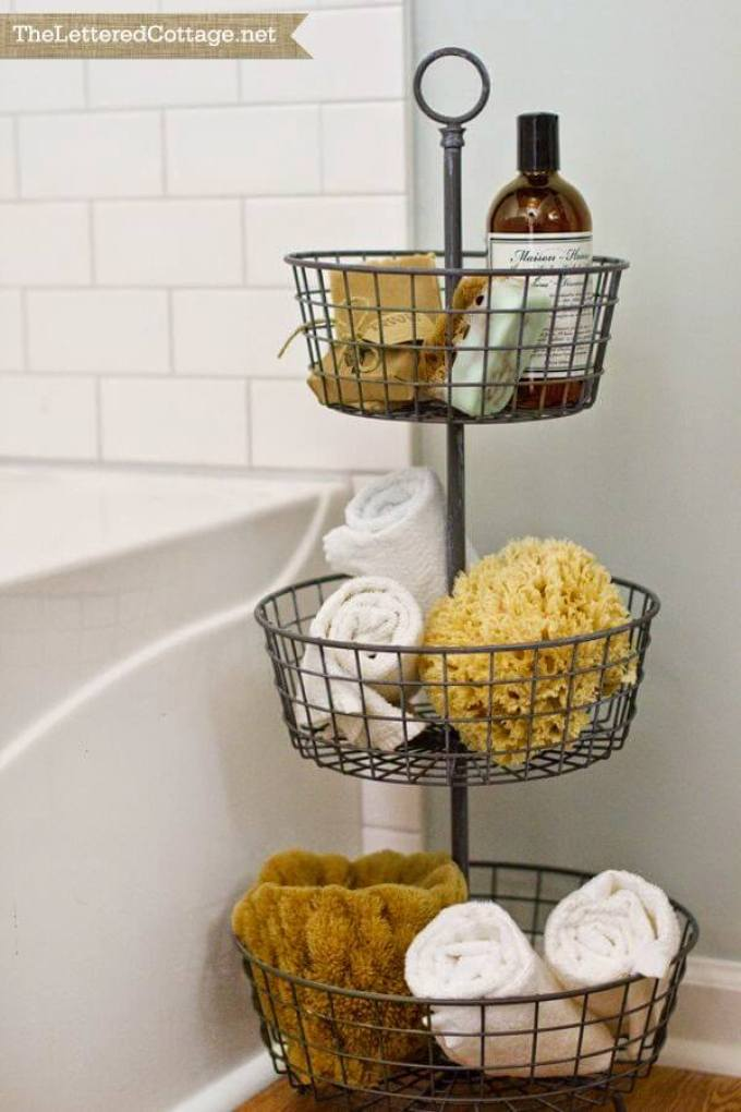 Farmhouse Bathroom Decor Ideas - Tiered Metal Basket Bathroom Organizer - harpmagazine.com