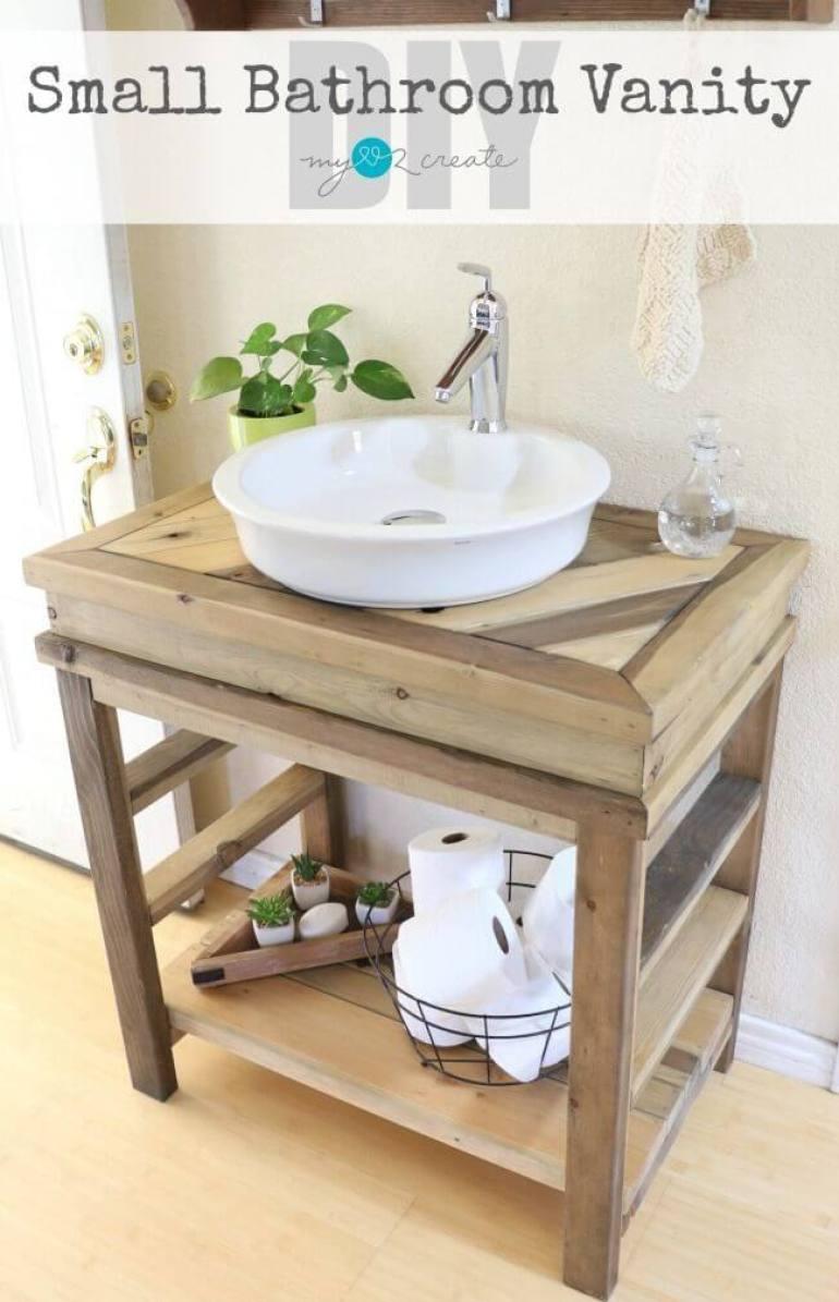 Farmhouse Bathroom Decor Ideas - DIY Rustic Wood Bathroom Vanity - harpmagazine.com