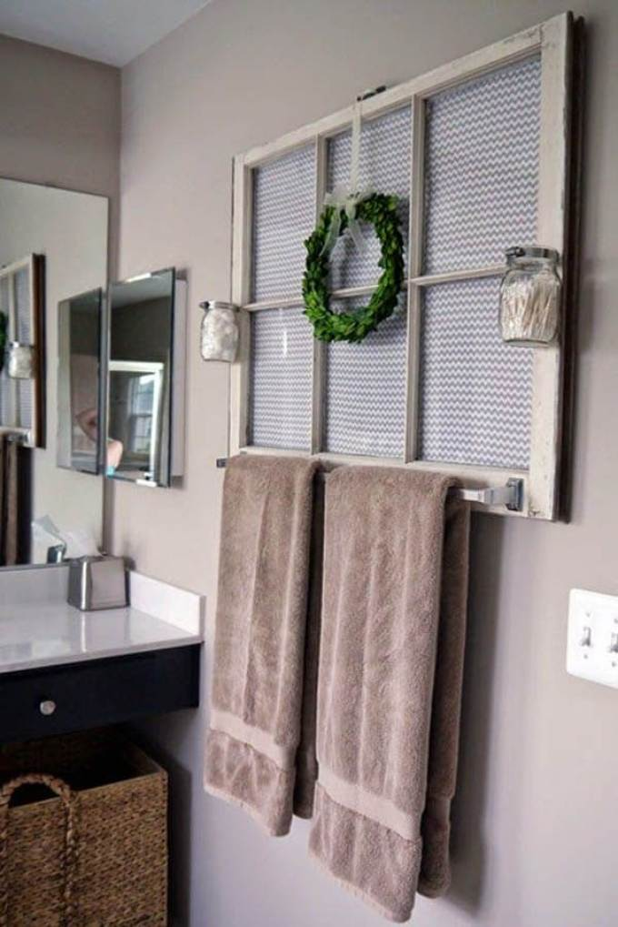 Farmhouse Bathroom Decor Ideas - Antique Window Frame Decoration and Towel Rack - harpmagazine.com