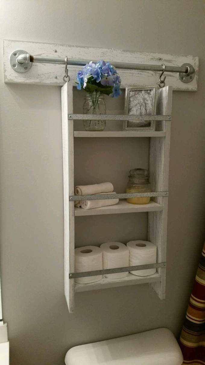 Farmhouse Bathroom Decor Ideas - Wooden Above Toilet Shelf Organizer - harpmagazine.com