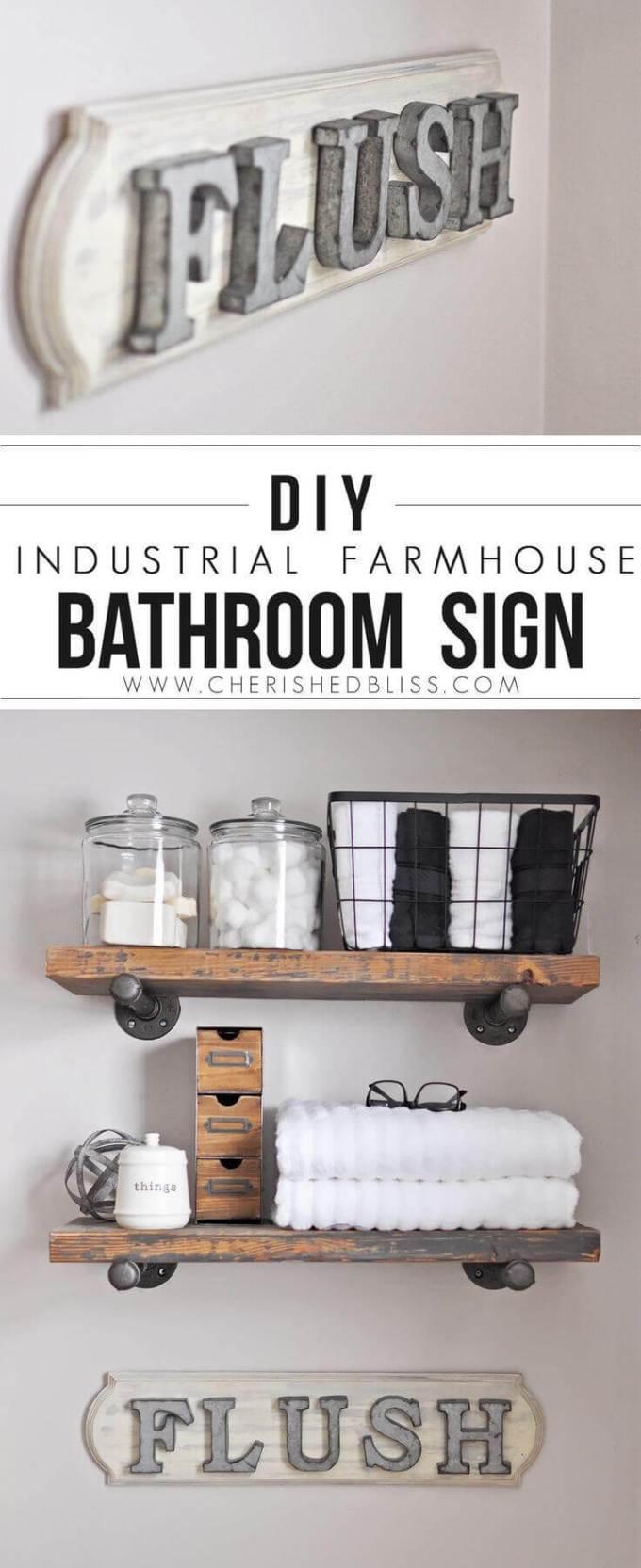 """Farmhouse Bathroom Decor Ideas - DIY Farmhouse Bathroom """"Flush"""" Sign - harpamagazine.com"""