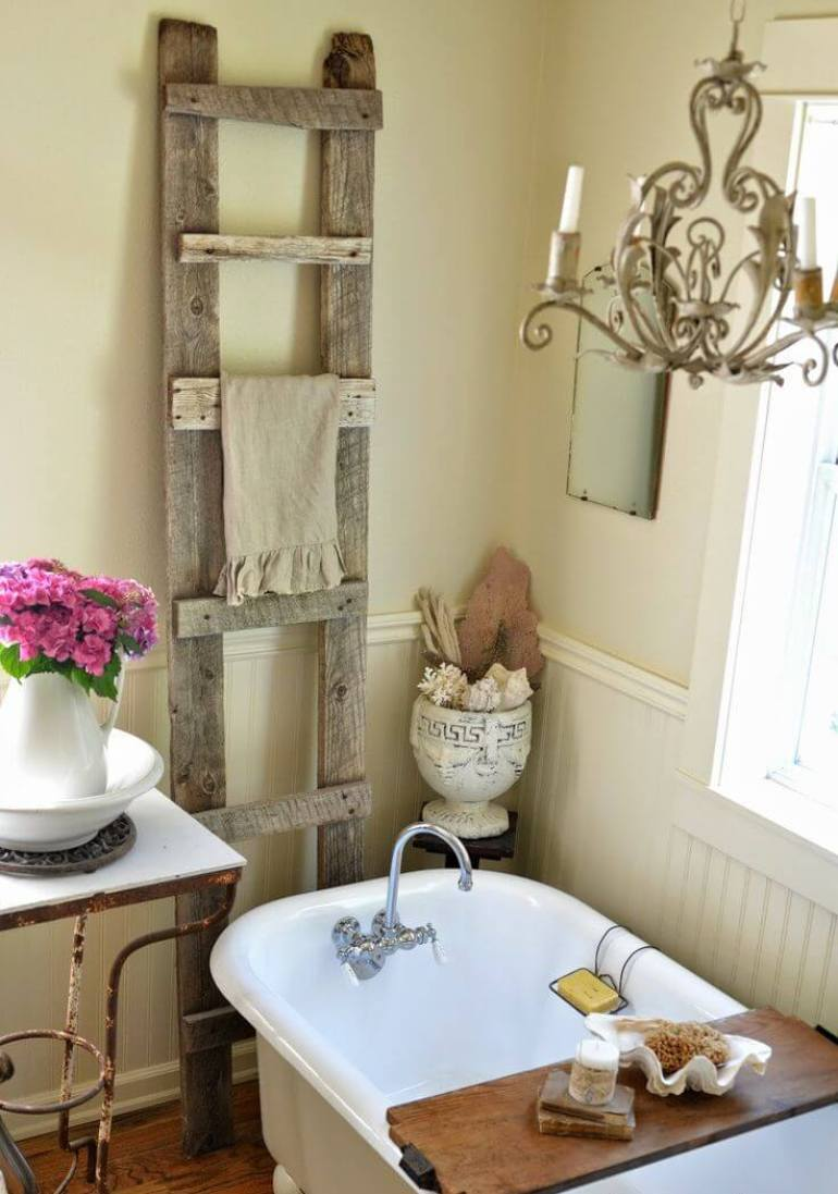 Farmhouse Bathroom Decor Ideas - Antique Wood Ladder Towel Rack - harpmagazine.com