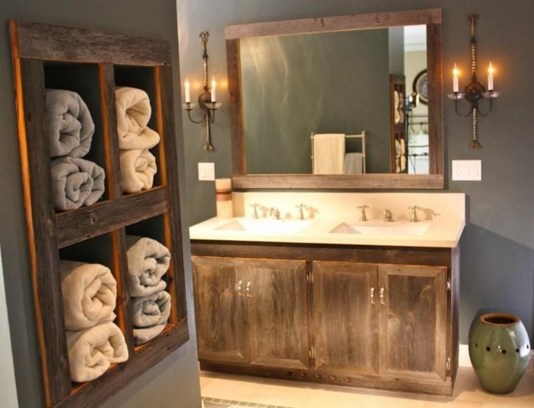Farmhouse Bathroom Decor Ideas - Antique Wood Vanity and Towel Organizer - harpmagazine.com