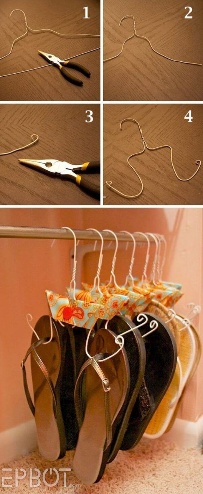 Storage Ideas for Small Spaces - Adorable Hanger Hack for Sandal Storage - Harpmagazine.com