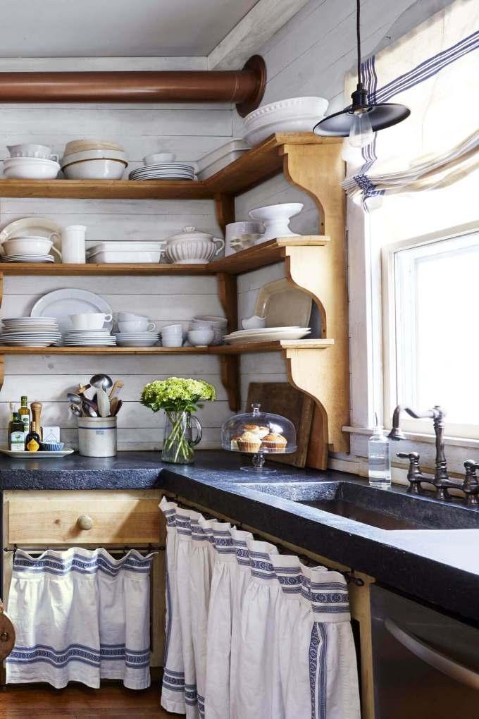 Farmhouse Kitchen Decor Design Ideas - Country Blue and White Linen Cabinet Curtains - harpmagazine.com