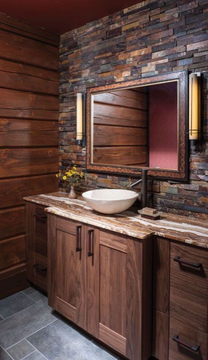 Rustic Bathroom Decor Ideas - Slate Mosaic Accent Wall - harpmagazine.com