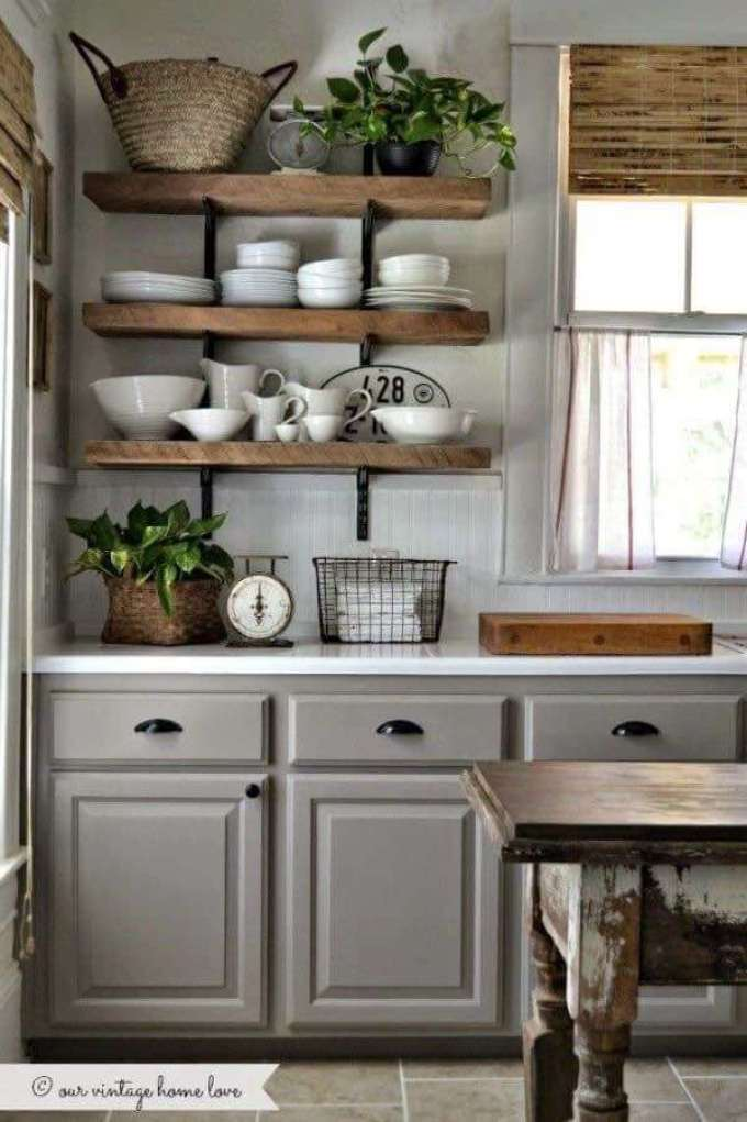 Farmhouse Kitchen Decor Design Ideas - Farmhouse Gray, Country White and Warm Wood Accents - harpmagzine.com