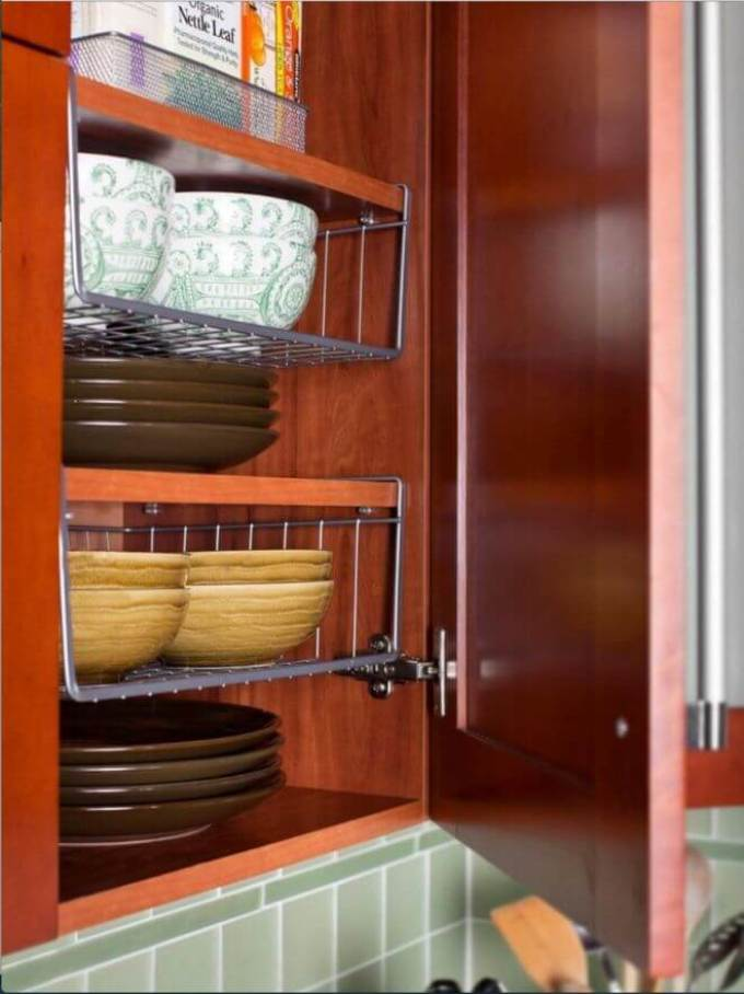 Storage Ideas for Small Spaces - Hanging Shelves Double Cabinet Space - Harpmagazine.com