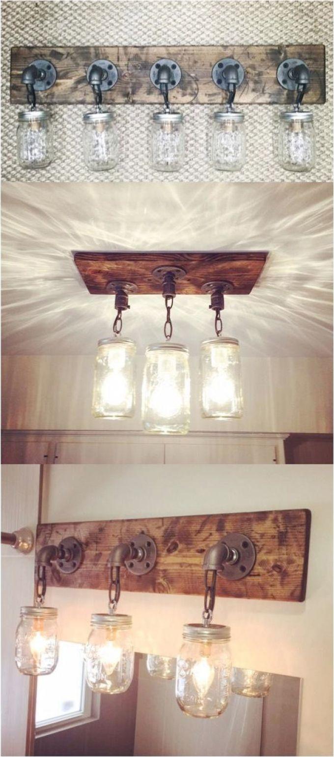 Rustic Bathroom Decor Ideas - Mason Jar Light Fixtures - harpmagazine.com