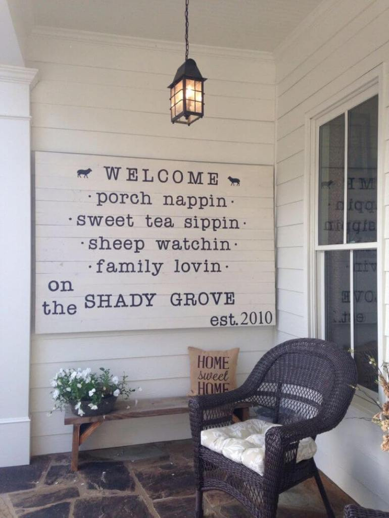 Farmhouse Porch Decorating Ideas - Quaint & Quirky Porch Welcome Sign - Harpmagazine.com