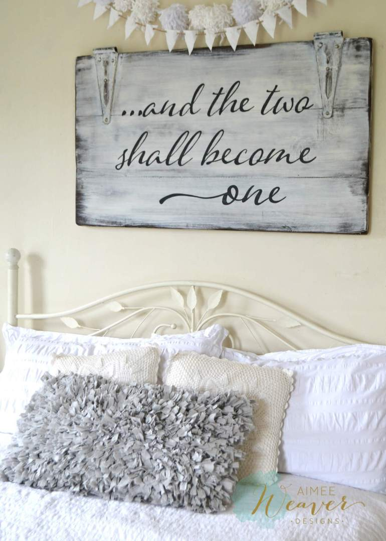 Wood Signs Ideas - Whitewashed Door Panel Marriage Quote - harpmagazine.com