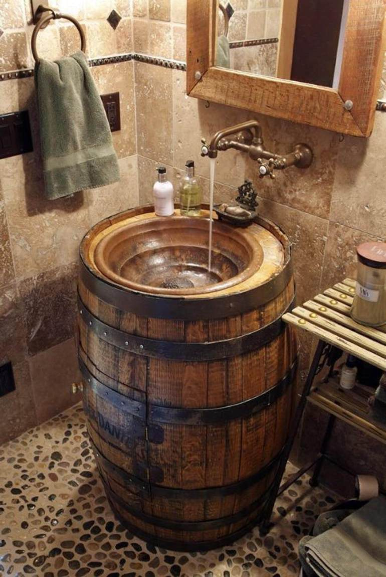 Rustic Bathroom Decor Ideas - Converted Whiskey Barrel Sink -harpmagazine.com