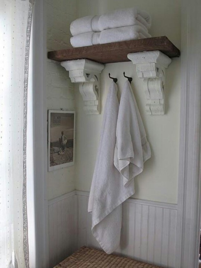Rustic Bathroom Decor Ideas - Reclaimed Cornice Shelving - harpmagazine.com