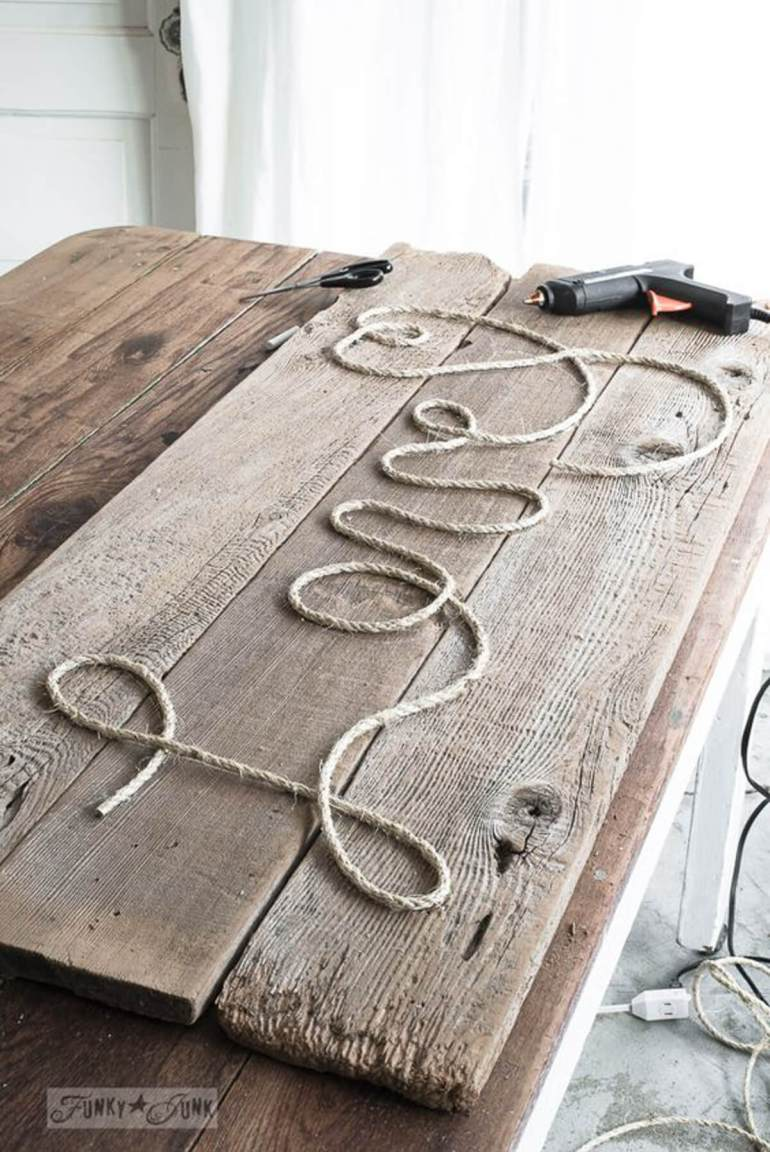 "Wood Signs Ideas - Rustic Twine ""Love"" Sign - harpmagazine.com"