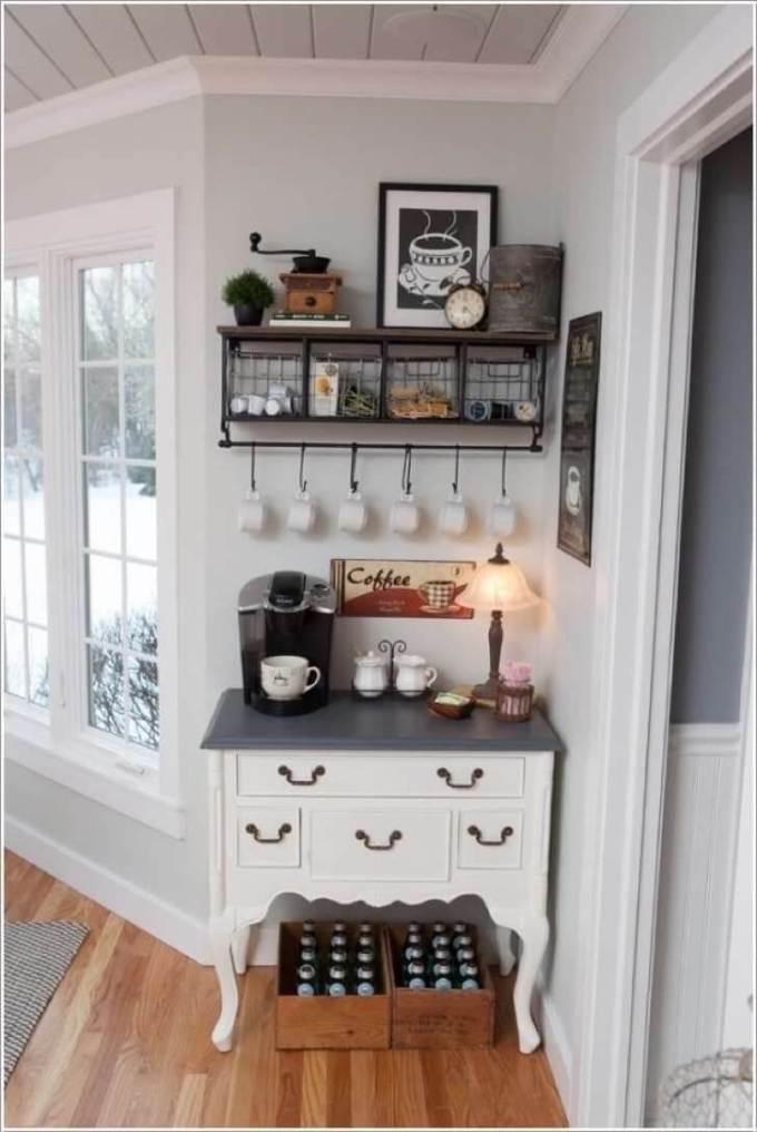 Farmhouse Kitchen Decor Design Ideas - Cozy Country White Coffee Nook - harpmagazine.com