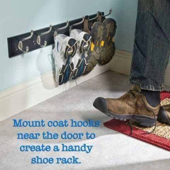 Storage Ideas for Small Spaces - Low-Mounted Coat Rack for Entryway Shoe Storage - Harpmagazine.com