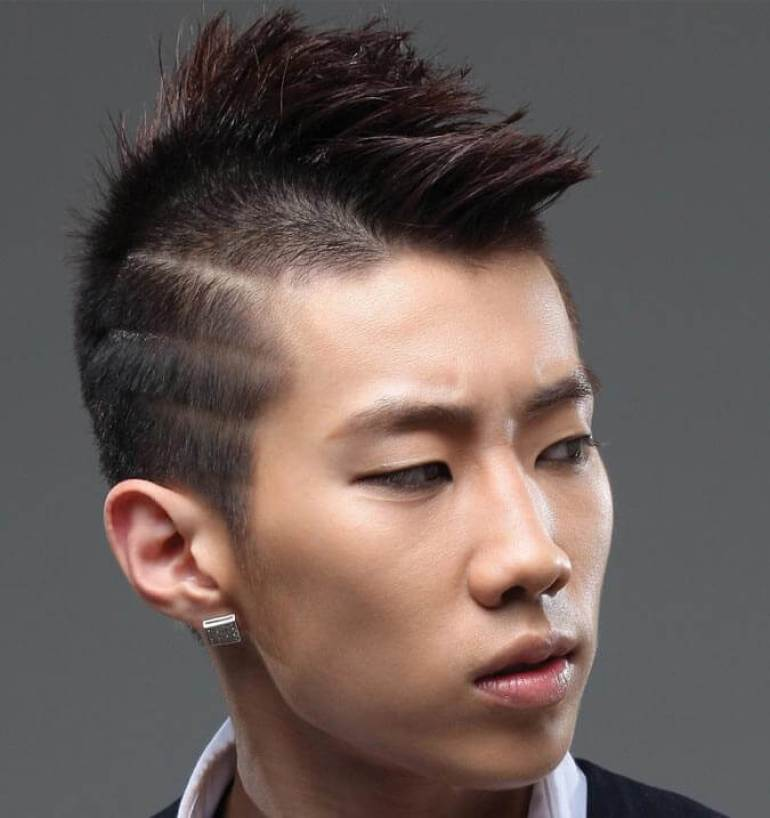 Asian Hairstyles Men Mini Mohawk with Lines Hairstyles - Harpmagazine.com